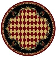 American Dakota Rug: Whimsical & Novelty Collection High Country Roosters Red 8' Round Drop Ship