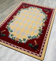 American Dakota Rug: Whimsical & Novelty Collection High Country Roosters Yellow 3x4 Drop Ship