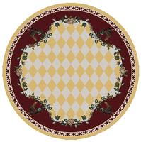 American Dakota Rug: Whimsical & Novelty Collection High Country Roosters Yellow 8' Round