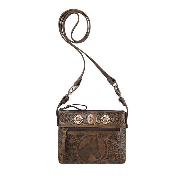 A American West Handbag Trail Rider: Leather Crossbody with Horse Head