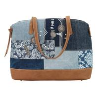 A Bandana Handbag Indigo Denim Collection: Zip Top Satchel Tote