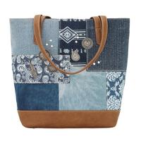 Bandana Handbag Indigo Denim Collection: Zip Top Bucket Tote