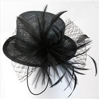 Fascinator: Mini Top Hat with Feathers and Lace MIsty Nights Black One Size