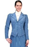 Scully Ladies' Old West Jacket: Wahmaker Classic Victorian Bustle Back Moire Blue Sold Out