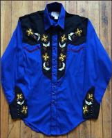 Rockmount Ranch Wear Men's Vintage Western Shirt: A John Denver Collection Royal Blue Embroidery S-XL