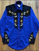 Rockmount Ranch Wear Men's Vintage Western Shirt: A John Denver Collection Royal Blue Embroidery 2XL