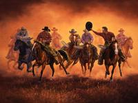 TXLC Custom Tile Cutting Board Western Cowboys: Jack Sorenson Kickin' Up Dust Special Order