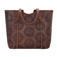 American West Handbag Kachina Spirit Collection: Leather Large Zip Top Tote Chestnut Brown