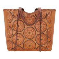 American West Handbag Kachina Spirit Collection: Leather Large Zip Top Tote Golden Tan