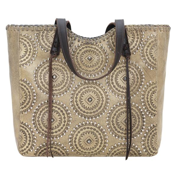 American West Handbag Kachina Spirit Collection: Leather Large Zip Top Tote Sand