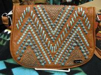 Kippys Belt Pouch Large: Raw Stitch Design Turquoise with Belt Loop SALE