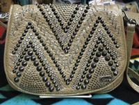 Kippys Belt Pouch Large: Raw Stitch Design Silver and Black Crystals with Belt Loop