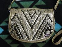 Kippys Belt Pouch Medium: Raw Stitch Design Silver and Black Crystals with Belt Loop