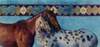 TXLC Custom Tile Cutting Board Horse: Kathy Morrow Appaloosa Blue Special Order