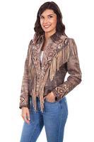 A Scully Ladies' Leather Suede Jacket: Western Fringe Embroidered Floral Brown Pre-Order