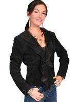 ZSold Scully Ladies' Leather Suede Jacket: Ruffled Short Black M-XL SOLD