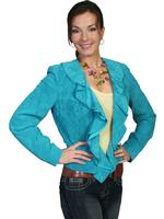 ZSold Scully Ladies' Leather Suede Jacket: Ruffled Short Dark Turquoise XS-2XL SOLD