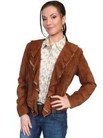 ZSold Scully Ladies' Leather Suede Jacket: Ruffled Short Cinnamon S-2XL SOLD