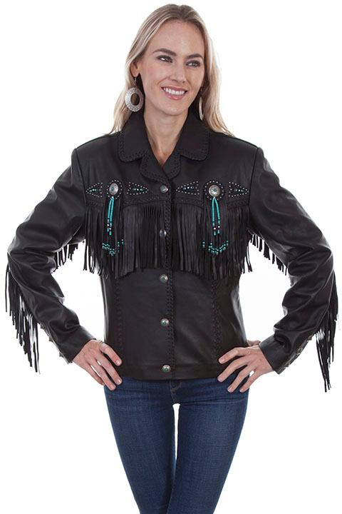 A Scully Ladies' Leather Jacket: Western Frontier Fringe Lamb