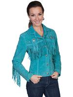A Scully Ladies' Leather Suede Jacket: Womens Western Full Size Frontier Fringe Turquoise