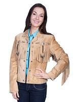 A Scully Ladies' Leather Suede Jacket: Womens Western Full Size Frontier Fringe Old Rust