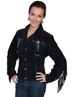 A Scully Ladies' Leather Suede Jacket: Womens Western Full Size Frontier Fringe Black