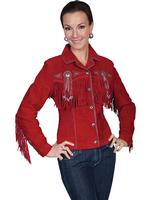 A Scully Ladies' Leather Suede Jacket: Womens Western Full Size Frontier Fringe Red