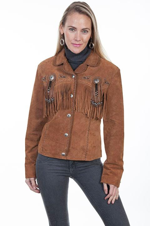 A Scully Ladies' Leather Suede Jacket: Western Frontier Fringe Cinnamon