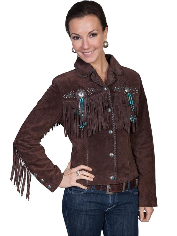 A Scully Ladies' Leather Suede Jacket: Western Frontier Fringe Chocolate