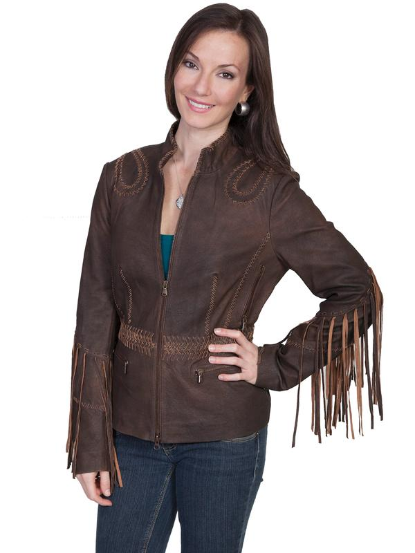 A Scully Ladies' Leather Jacket: Western Fringe Ranch Leather Whip Stitching S-2XL SALE