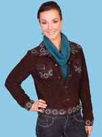 ZSOLD Scully Ladies' Leather Suede Jacket: Lamb Jean Jacket with Embroidery XS-L SOLD