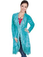 A Scully Ladies' Leather Suede Jacket: Western Fringe Coat Turquoise
