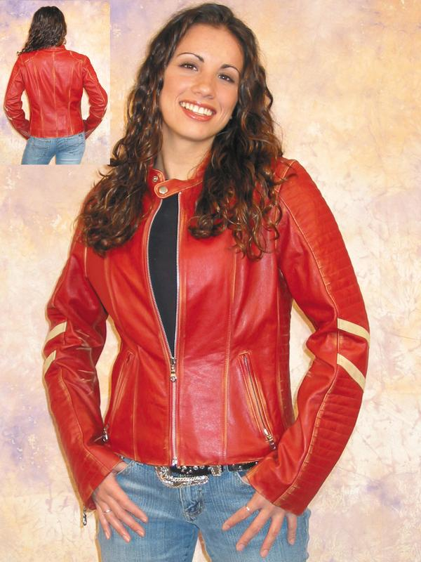 A Scully Ladies' Leather Jacket: Motorcycle Vintage Racer Crimson M DEAL