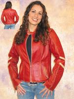 A Scully Ladies' Leather Jacket: Motorcycle Vintage Racer Crimson M SALE
