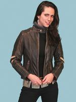 ZSold Scully Ladies' Leather Jacket: Motorcycle Vintage Racer Charcoal XS-XL SOLD