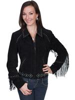 A Scully Ladies' Leather Suede Jacket: Western Fringe and Nailheads The Britt Black S-XL SALE