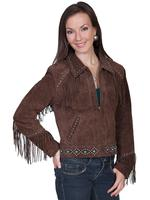 A Scully Ladies' Leather Suede Jacket: Western Fringe and Nailheads The Britt Chocolate S-L SALE