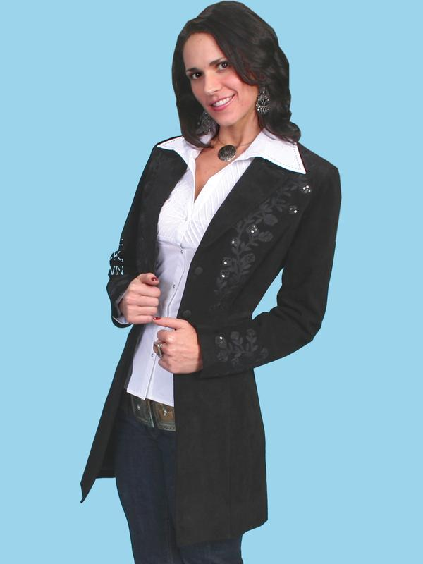 A Scully Ladies Leather Suede Jacket Western Embroidered
