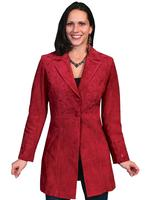 A Scully Ladies' Leather Suede Jacket: Western Embroidered Car Coat Red 4-16 SALE