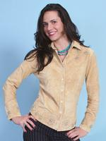 A Scully Ladies' Leather Suede Jacket: Western Suede Shirt with Details Chamois S-2XL