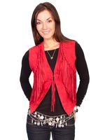 ZSold Scully Ladies' Leather Suede Vest: Fringe Detail on Suede Red L-2XL SOLD