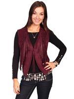 ZSold Scully Ladies' Leather Suede Vest: Fringe Detail on Suede Ruby S-2XL SOLD