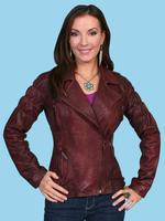 ZSold Scully Ladies' Leather Jacket: Motorcycle Lamb w Zippers Wine  SOLD