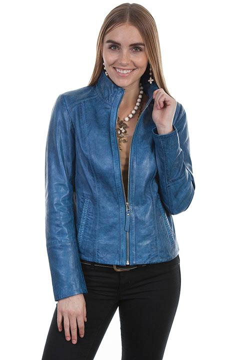 A Scully Ladies' Leather Jacket: Classic Stand Up Collar Blue Denim