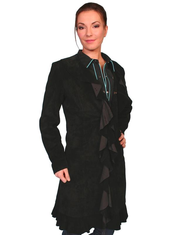 A Scully Ladies' Leather Suede Jacket: Ruffled Black Coat XL SALE
