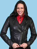 ZSold Scully Ladies' Leather Jacket: Motorcycle Style Black S-M SOLD