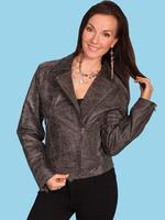 ZSold Scully Ladies' Leather Jacket: Motorcylce w Zippers Gray S-2XL SOLD