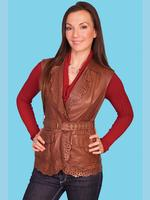 ZSold Scully Ladies' Leather Vest: Western Laser Cut Ruffle Trim Brown M-2XL SOLD
