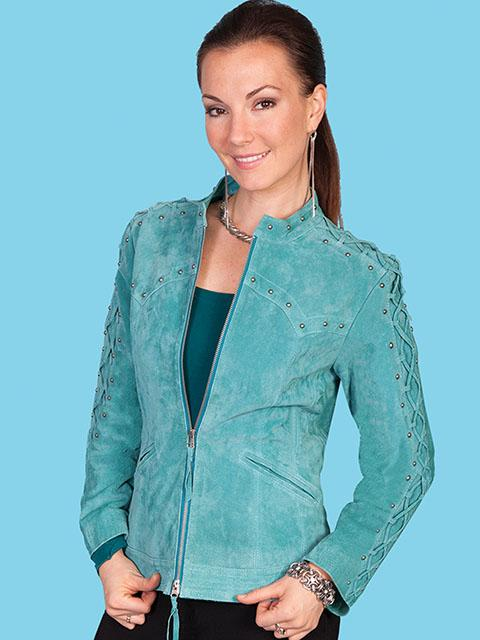 A Scully Ladies Leather Suede Jacket Western Fringe With