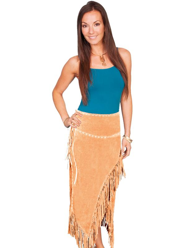 A A Scully Ladies' Leather Suede Skirt: Western Fringe Wrap Old Rust